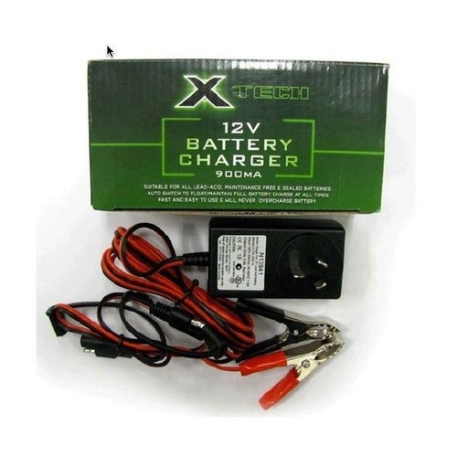 X-TECH 12V SMART BATTERY TRICKLE CHARGER 900mA - SCOOTER JETSKI MOTORCYCLE LITHIUM LEAD & SEALED