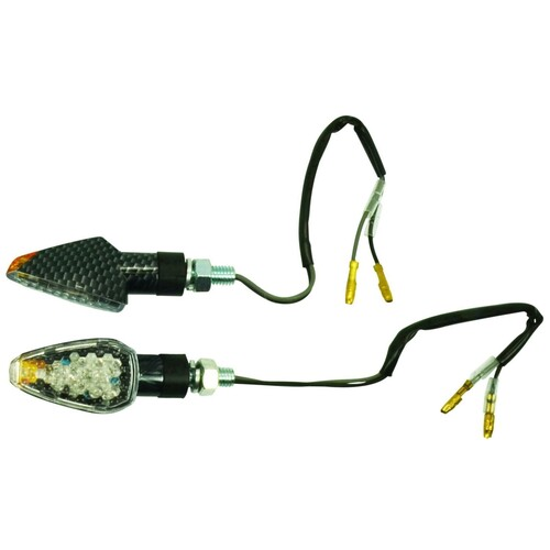 UNIVERSAL MINI LED INDICATOR BLINKER PAIR CARBON LOOK ORANGE TIP